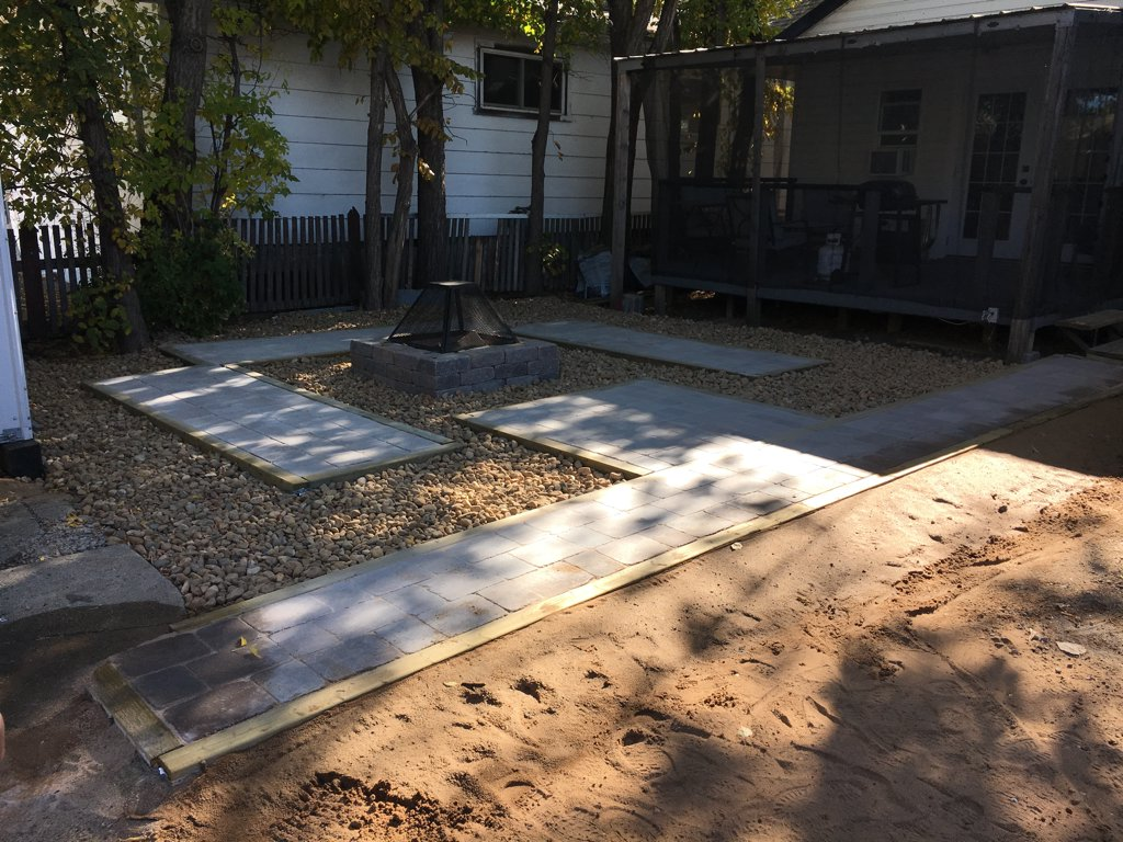 New paving stone patio and fireplace fall 2017